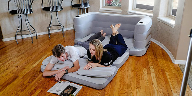 Bestway Multi-Max Inflatable Sofa Pulled Out Into Full-Size Bed