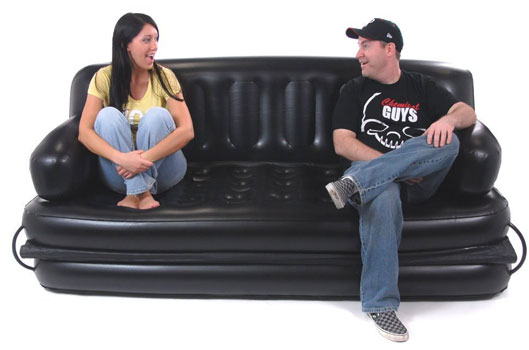 Inflatable Sofa With Greg And Dana Sitting On It